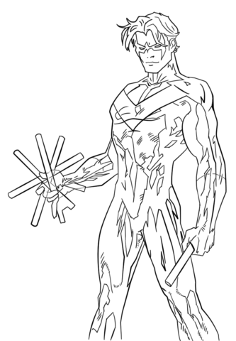 Young Justice Nightwing Coloring Page Free Printable