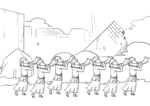 Seven Priests Blow Their Trumpets in Jericho coloring page