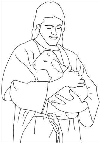 Dibujo de Jesús Cristo con un cordero para colorear