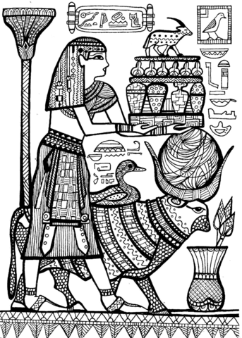 Priest And Sacred Animals Of Ancient Egypt Coloring Page