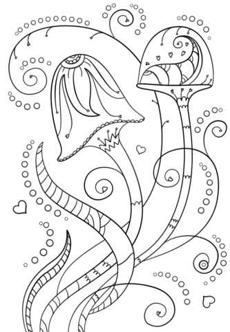 psychedelic mushrooms coloring page