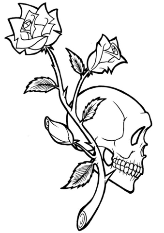 Skull Tattoo Coloring Pages Sketch Coloring Page