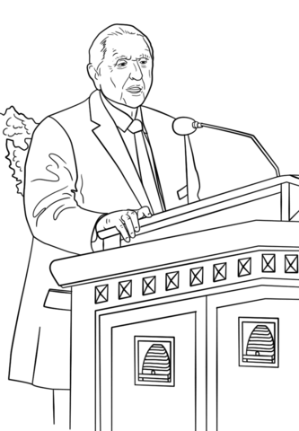 Thomas S. Monson Speaks at the General Conference coloring