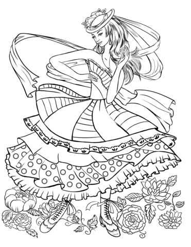 Girl Dancing in a Vintage Fashion Clothing coloring page