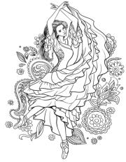 gypsy woman dancing carmen coloring