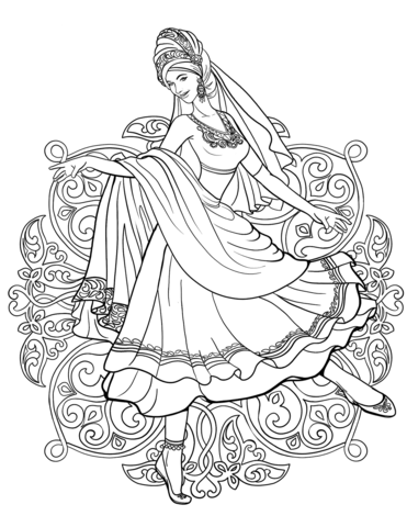 Indian Woman Dancing in a Traditional Dress coloring page