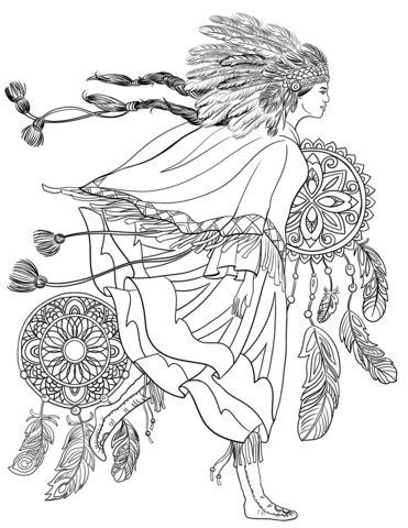 Indigenous Woman in a Traditional Costume coloring page