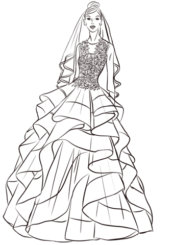 Pretty Bride Coloring Page Free Printable Coloring Pages