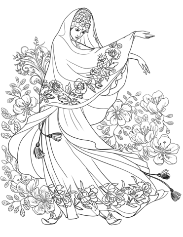 Woman from the near East with the Floral Motif coloring