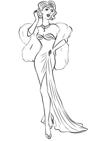 1930's Woman in Long Dress and Fur Boa Scarf coloring page