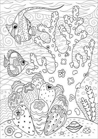 Butterflyfish Enjoying Coral Reef coloring page  Free