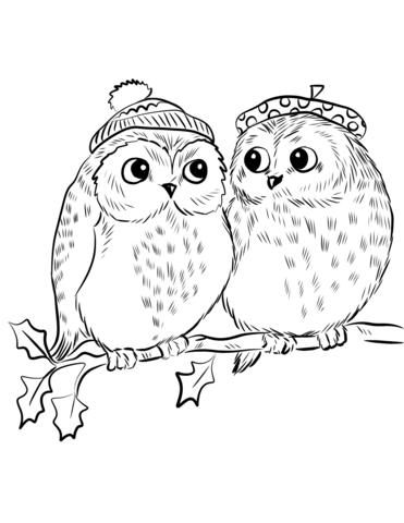 Couple Of Cute Owls Coloring Page Free Printable Coloring Pages