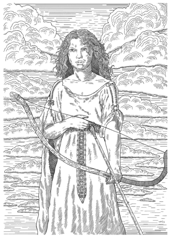 Female Medieval Archer Coloring Page Free Printable