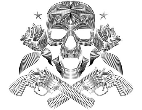 skull roses and guns