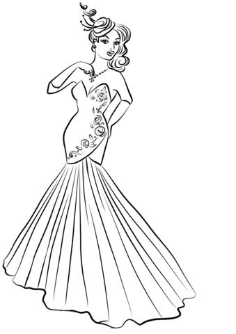 Dibujo de Mujer en vestido de noche para colorear