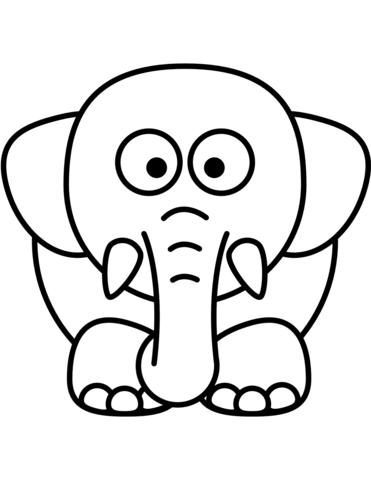 Dibujo de Elefante de dibujos animados para colorear