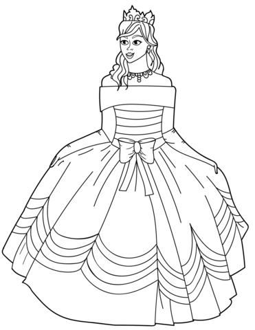 Princess in Ball Gown Off-the-Shoulder Dress coloring page