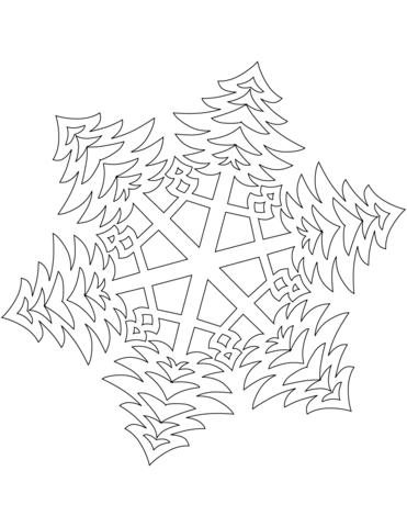 Snowflake with Bushy Christmas Trees Pattern coloring page