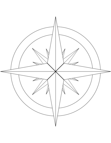 Coloring Book Page Compass
