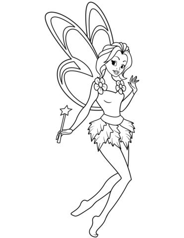 Dibujo de Hada con una varita mágica para colorear