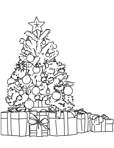 Lots of Gifts Around the Christmas Tree coloring page