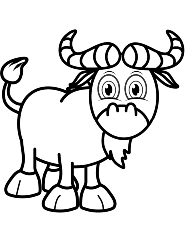 Wildebeest Cartoon Coloring Coloring Pages
