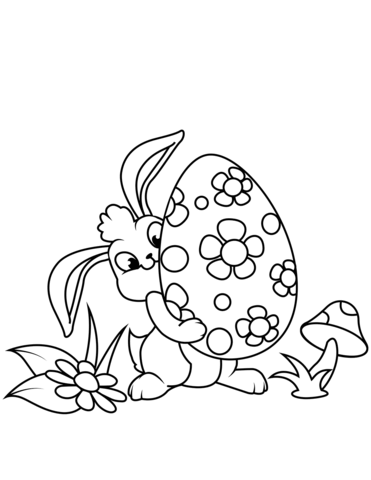 Cute Easter Bunny And Egg Coloring Page Free Printable