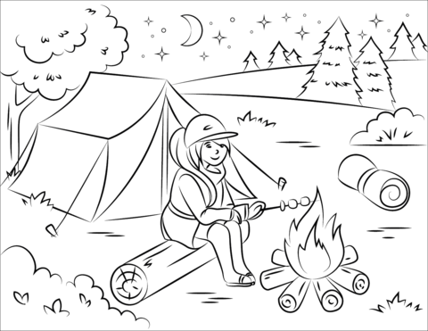 Girl Roasting Marshmallow over Campfire coloring page
