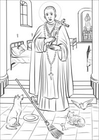 Disegno di San Martino di Porres da colorare