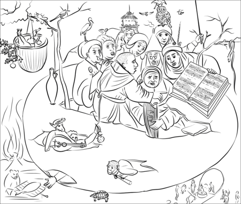 Concert in the Egg by Hieronymus Bosch coloring page