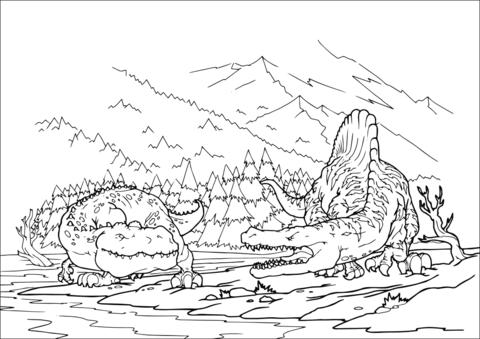 Dibujo de Tiranosaurio contra Espinosaurio para colorear