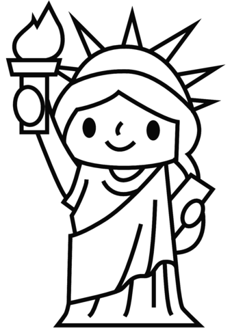Dibujo de Estatua de la Libertad simple para colorear
