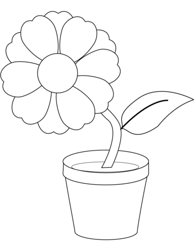 Flower In A Pot Coloring Page Free Printable Coloring Pages