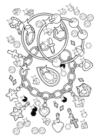 Pendant Bracelet And Diamonds Coloring Page Free Printable Coloring Pages