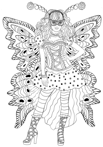 Girl Wearing Carnival Butterfly Costume coloring page