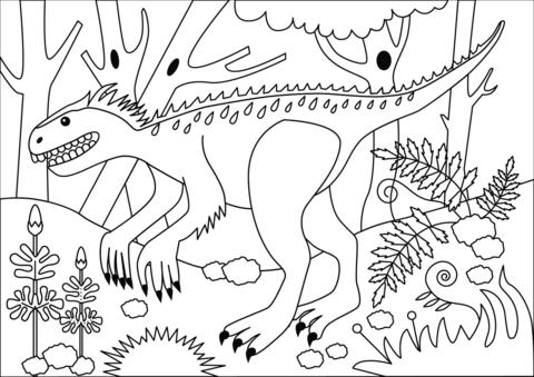 Kleurplaat Jurassic World Indominus Rex • Kidkleurplaat.nl
