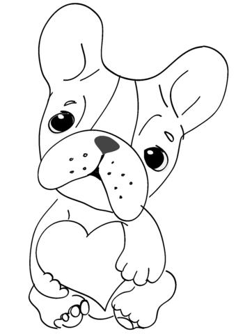 Suloinen koira sydämellä värityskuva