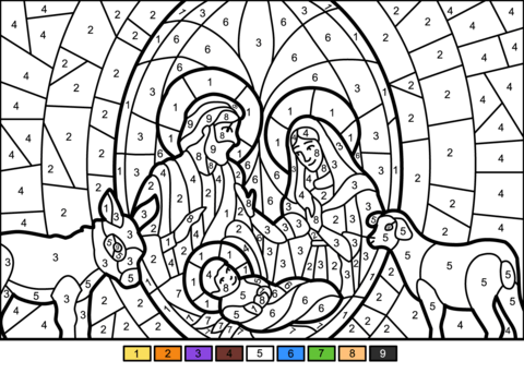 Click to see printable version of Christmas Nativity Scene Color by Number Coloring page