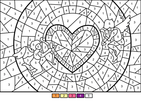 Cupids And Heart Color By Number Free Printable Coloring Pages