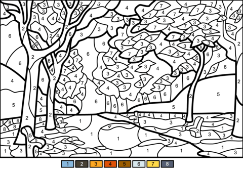 Fall Trees Color By Number Free Printable Coloring Pages