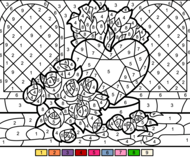 Roses And Heart Color By Number Free Printable Coloring Pages