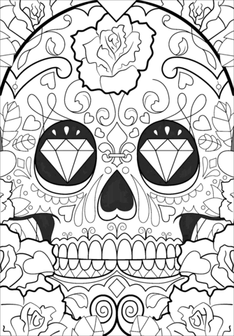 Day Of The Dead Pattern Coloring Page Free Printable Coloring Pages