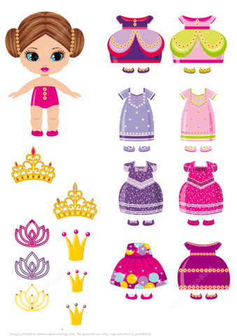 Little Princess Paper Doll With A Set Of Royal Dresses