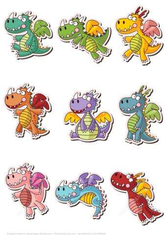 Printable Cute Dragon Stickers Free Printable Papercraft