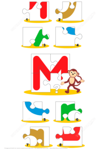 Letter M is for Monkey Puzzle Free Printable Puzzle Games