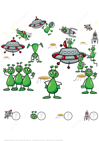 Count Aliens Ufo And Space Rockets Math Puzzle Worksheet