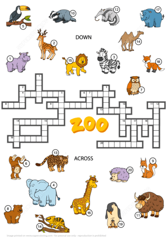 Crossword Puzzle About Zoo Animals Free Printable Puzzle