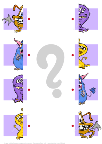 Matching Halves Worksheet With Monsters