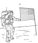 Neil Armstrong on the Moon Coloring page