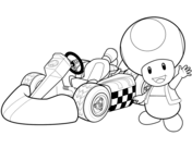Kleurplaat Mario Kart